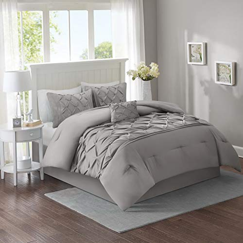 Hemau Premium New Soft – Cavoy Comforter Set - 5 Piece – Tufted Pattern – Gray – Full/Queen Size, Includes 1 Comforter, 2 Sha, 1 Decorative Pillow, 1 Bed Skirt   Style 503192721