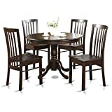 East West Furniture HART5-CAP-W 5-Piece Kitchen Table and Chairs Set, Cappuccino Finish Review