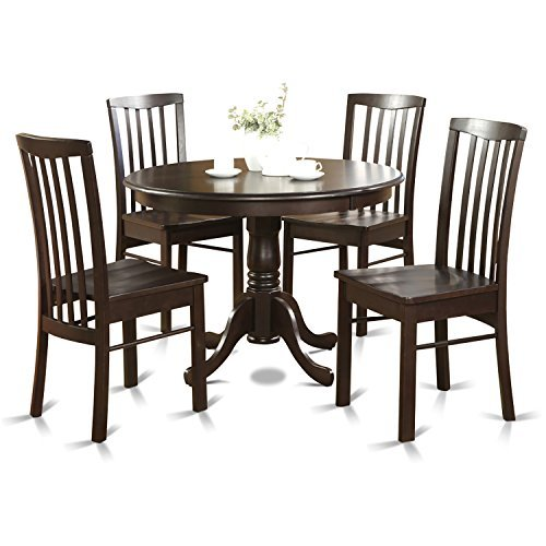 East West Furniture HART5-CAP-LC 5-Piece Kitchen Table and Chairs Set, Cappuccino Finish (Cappuccino Finish Slat Design)