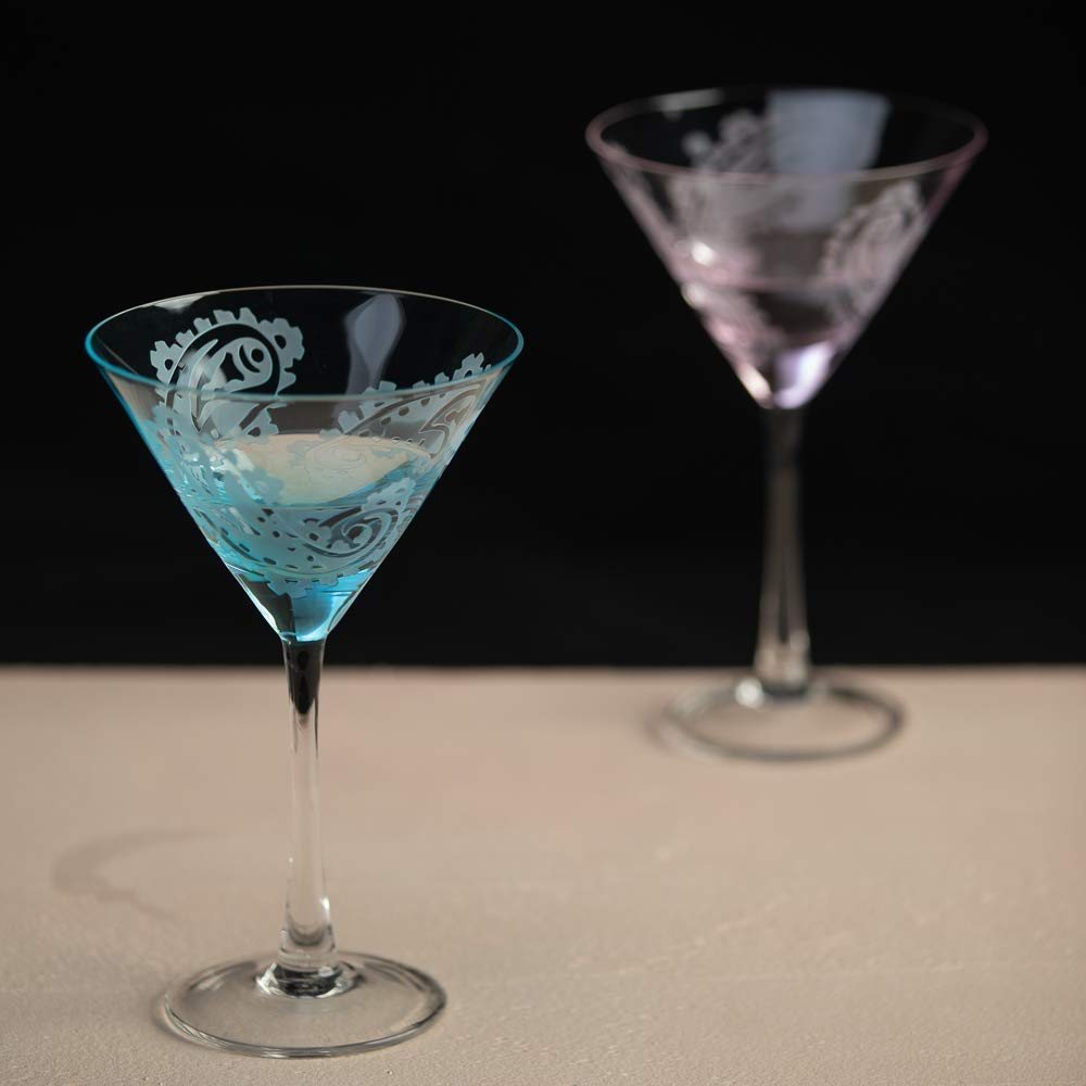 Set of 2 Etched Stemmed Cocktail Glass, Unique Wine Glass, Fantastic Gift for Party Favors (Mixed Color(Set of 2))