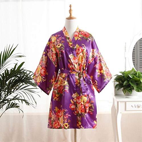 Estampado purple Baño Peony Bata De l Pijama Albornoz Home Mujer Sleepwear z8UTST