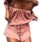 Women Jumpsuit, L'ananas Women Summer Off Shoulder Pink Polka Dot Strapless Falbala Short Romper Overalls (CN-M/US-4, Pink)