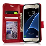 Samsung Galaxy S7 Case, Labato Galaxy S7 Genuine Leather Pouch Flip Wallet Cover Case with Card Slots & Stand Function & Magnetic Strap Closure Covers for Samsung S7 Flat Screen Vintage Red Lbt-SM7-01Z30