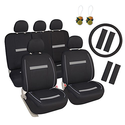 Leader Accessories 17 pcs Auto Breathable Cloth Universal Seat Cover for Car SUV Truck Combo Pack Black/Grey (Combo Seat Covers)