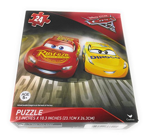 Kids Hot SELLER 24 Piece Disney Pixar Shaped Jigsaw Puzzle Square Dinoco Yellow McQueen