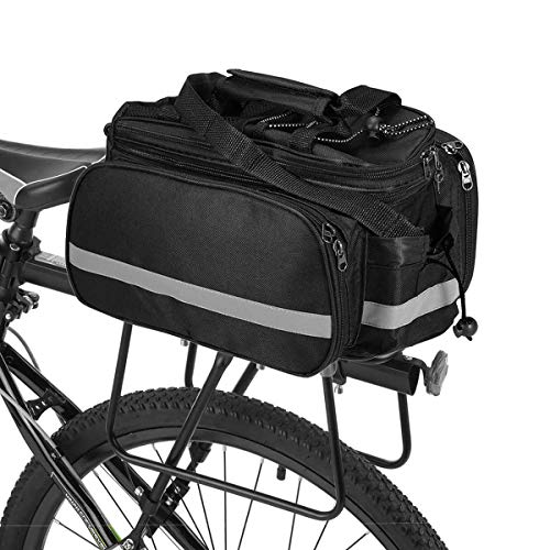 Ationgle Bike Trunk Bag 10L-25L Extensible Capacity Cycling Pannier Bag Waterproof Excursion Bicycle Rear Seat Rack Bag Carrying Luggage Package with Carrying Handle, Shoulder Strap, Reflective Trim