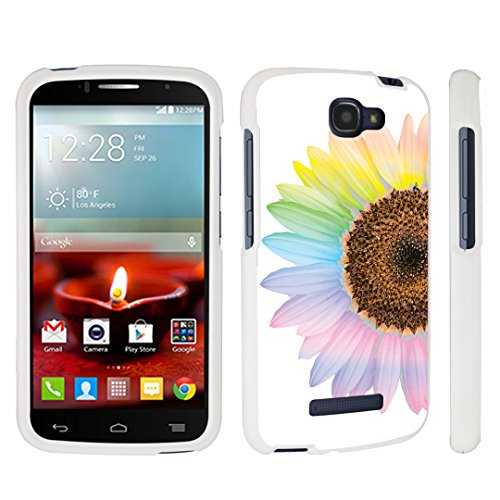 DuroCase ® Alcatel OneTouch Fierce 2 7040T / POP Icon A564C (2014 Released) Hard Case White - (Sunflower) (Alcatel One Touch Fierce Prepaid Cell Phone)