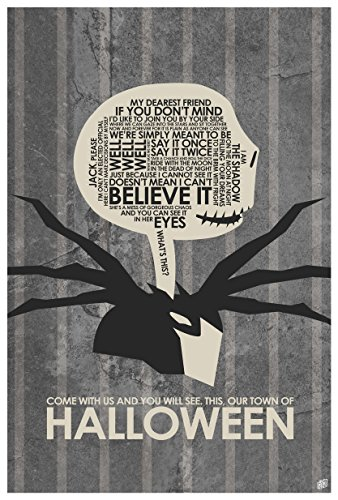 Northwest Art Mall The Nightmare Before Christmas, OUR TOWN OF HALLOWEEN Word Art Print Poster (12