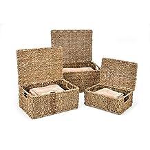 Trademark Innovations BSKT-RECT-3X Rectangular Seagrass Baskets with Lids (Set of 3)