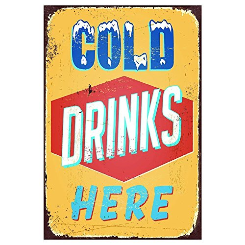 Cold Drinks Here Metal Sign 12X18 Inch ()