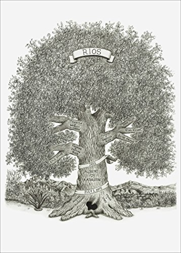 Custom, Hand-Drawn 11'' x 14'' Family Tree by Tammy Liu-Haller ~ Pencil Artist