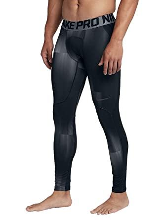5bf78ca00ccd0 Nike Pro Mens Dri-Fit Hyperwarm Printed Compression Tights Pants (Small)  Black/