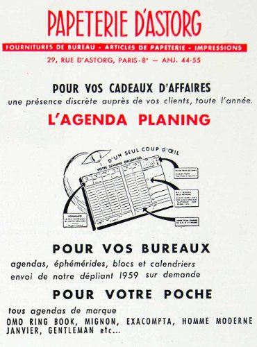 1958-ad-papeterie-dastorg-lagenda-planing-day-planner-french-stationary-omo-original-print-ad