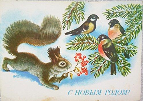 1991 squirrel bullhead Vintage USSR Soviet Union Russian Greeting Christmas Happy New Year Postcard Dostyan