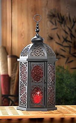 Paprika Tall Moroccan Lantern Black Metal Frame 3 Glass & 3 Open Panels