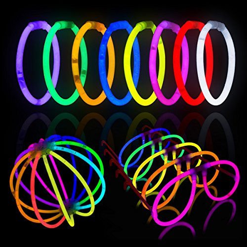 Lumistick Glow Sticks 100 Piece Summer Night Fun Party Pack Glowsticks for Bracelets, Glasses, and Glow (Good Halloween Party Favors)