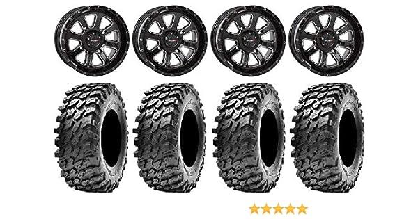 System 3 ST-4 Black 14 Wheels 32 Rampage Tires Bundle 4x137 Bolt Pattern 12mmx1.25 Lug Kit 9 Items