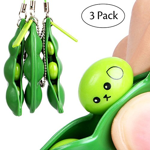 Cute Cell Phone Charm - iMagitek 3 Pcs Fidget Toy Set, Squeeze-a-Bean Soybean Stress Relieving Playful Charms Extrusion Edamame Pea Keychain for Mobile Phones and Keys - Green