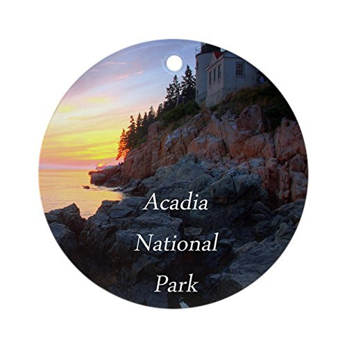Delia32Agnes Acadia National Park Christmas Ornaments Porcelain Ceramic Round 3 Inches Ornament Christmas Tree Decorations