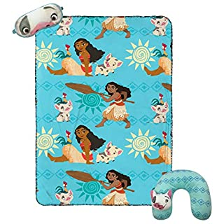 Jay Franco Disney Moana 3 Piece Plush Kids Travel Set with Neck Pillow, Blanket & Eye Mask (Official Disney Product)