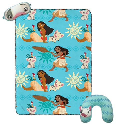 Jay Franco Disney Moana 3 Piece Plush Kids Travel Set with Neck Pillow, Blanket & Eye Mask (Official Disney Product)