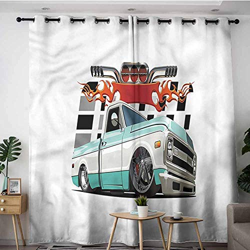 XXANS Living Room/Bedroom Window Curtains,Truck,Lowrider Pickup Vehicle,Blackout Window Curtain 2 Panel,W108x108L ()