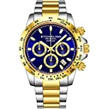 "Stuhrling Original Mens Sport Chronograph Watch - Stainless Steel Brushed Matte Bracelet, 891 Formula""i"" Watches Collection (Gold Two Tone)"