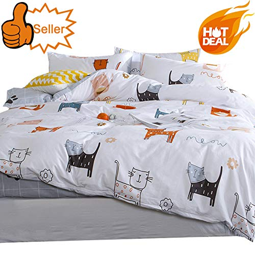 OTOB Cartoon Cat Full Queen Duvet Cover Sets for Kids White Grey 100% Cotton Reversible 3 Pieces Kids Girls Boys Bedding Sets Duvet Cover with Pillowcases Child Bedding Sets, No Quilt ()