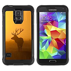 SHIMIN CAO@ morning nature deer moose sunset sunrise Rugged Hybrid Armor Slim Protection Case Cover Shell For S5 Case , G9006 Cover Case ,Leather for S5 ,S5 Cover Leather Case ,G9006 Leather Case