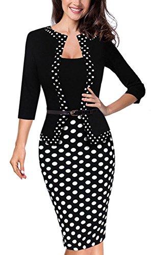 HOMEYEE Women's Vintage Retro 3/4 Sleeve Pencil Dress Wear to Work B407