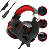 Gaming Headset 7.1,Noise Cancelling Headphones over Ear Stereo Bass Surround Sound Game PC Microphone USB LED Mic for Laptop Computer Black Red