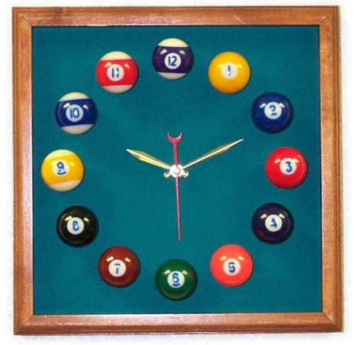 12in Square Billiard Clock Mahogany & Std Green Mali - Clock Square Felt