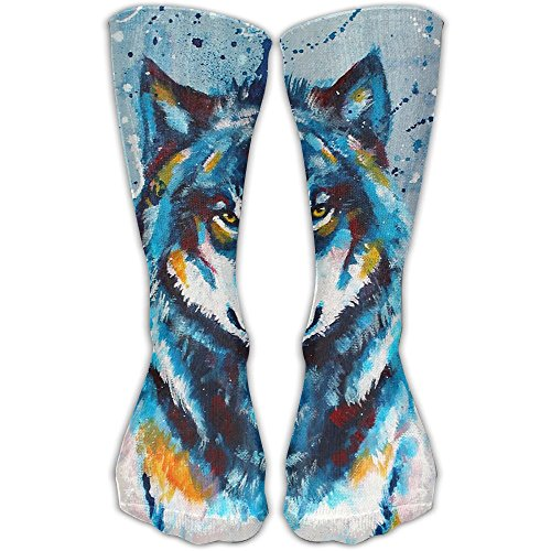 Unisex Blue Painting Wolf Printed Sports Crew Socks Athletic Casual ()