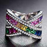 Sumanee Fashion Women 925 Sterling Silver Multicolor Gem Ring Wedding Bridal Jewelry New (8)