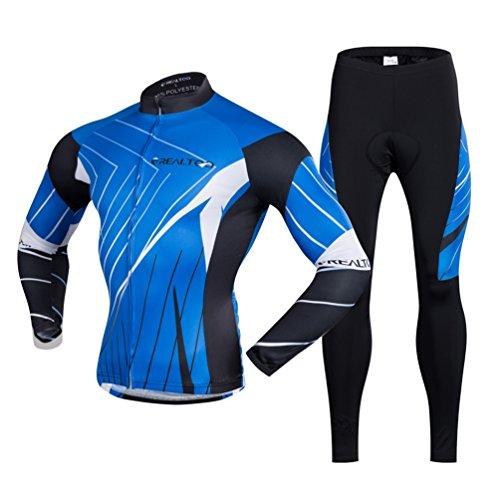 パイプラインチャーター容赦ない上下セット サイクリングジャージ メンズ サイクルウェア 秋冬 長袖 反射 自転車ウェア 通気性 男女兼用 速乾 おしゃれ ウィンドブレーカー ロードバイク オフロード スポーツウェア アウトドア ブルー S~4XL
