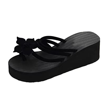 ab8694dadcdfc Inkach Womens Flip-Flops Sandals - Fashion Summer Wedge Platform Sandals  Chunky Heeled Slippers (