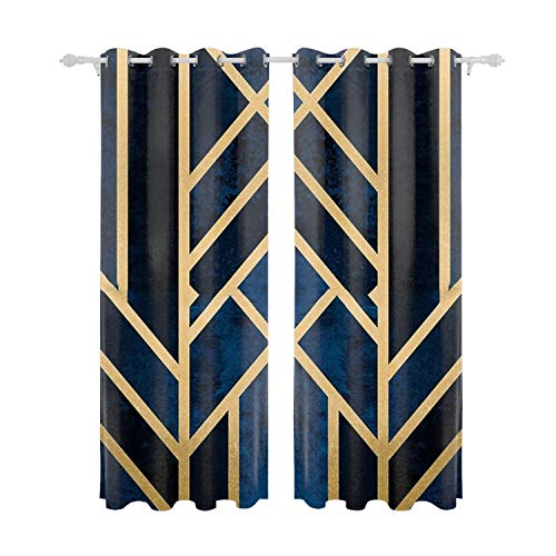 Verna Christopher Art Deco Midnight Curtain Panels for Bedroom Window Treatments Room Darkening Vintage Multicolor Curtains for Living Room Patio Door ()