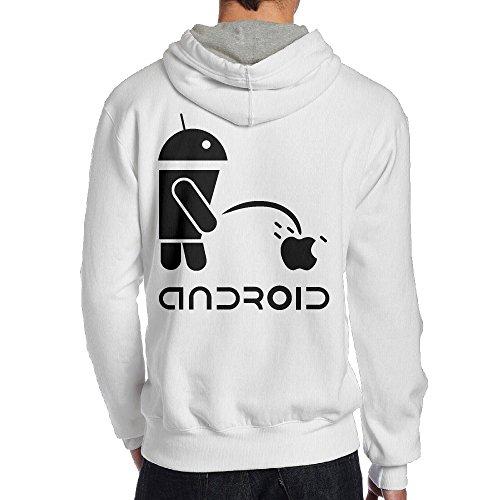 Android Men Black Long Sleeve Back Print Hoodie Outwear M