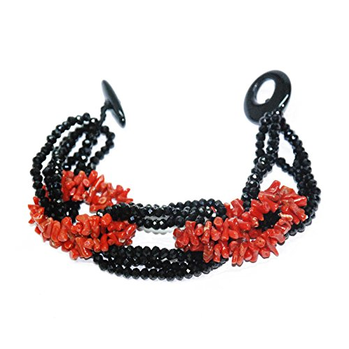 Créations or bracelet en corail et onyx, finition à la main 16menbr1865