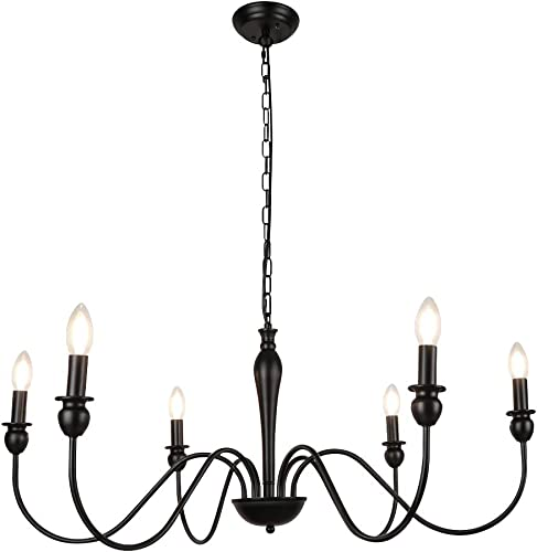 WBinDX 6-Light Black Farmhouse Chandelier