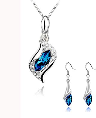 Qiiueen💦Collares Mujer, Angel Elf Crystal, Collar Pendiente Conjunto, Azul Oscuro: Amazon.es: Joyería