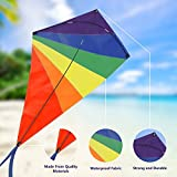 kites for kids - Diamond Kite 47 Inch, Easy Flyer Rainbow Kites for Kids and Adults, Best for Beach and Summer Fun, Durable Outdoor Game Kit with Flying Line and Spool, Nylon Kite with Fiberglass Rods for Beginners