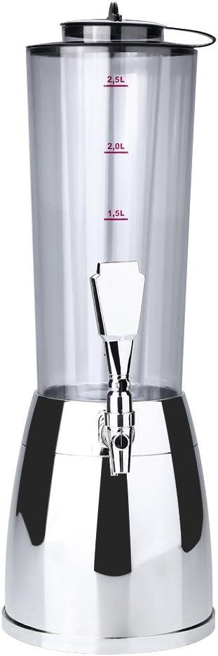 Dispensador de cerveza, 2.5L Dispensador de torre de cerveza transparente Dispensador de bebidas con tubo de hielo para bares, hoteles, KTV, familia, fiestas, fácil de limpiar(Plata)