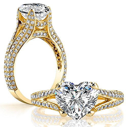 DIAMOND MANSION Dazzling Natural Heart Cut Split Shank Micro Pave Diamond Engagement Ring - GIA Certified (Yellow-Gold, 2.80)