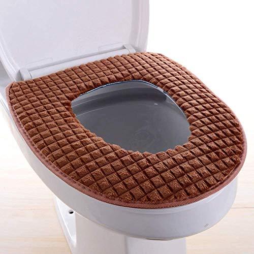 Shurong toiletzitkussen, verdikte zachte warme kussens, isolatiehoes, geschikt voor badkamer toiletaccessoires (bruin)