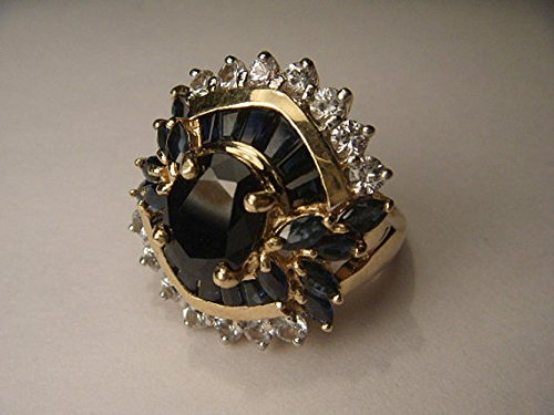 Magnificent Estate 14K Yellow Gold Sapphire Diamond Filigree Cluster Band Ring (Ring Diamond Filigree Sapphire &)