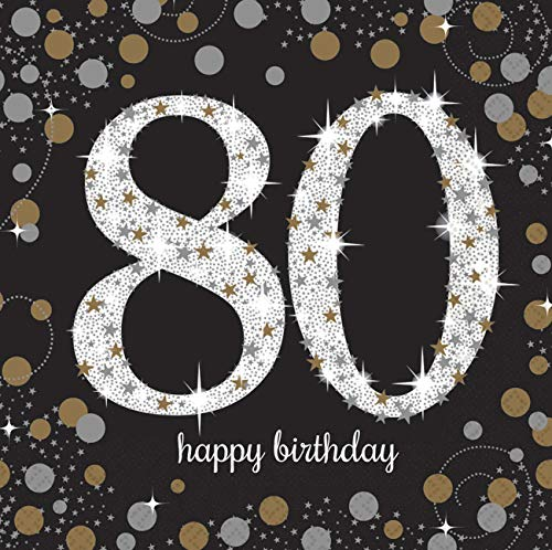 80th Birthday Napkins (Amscan 511965 Luncheon Napkins Party Supplies One Size)