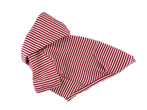 Red-and-white-Striped-Raglan-Sleeves-1-x1-Rib-Knit-Cotton-hoodie-Dog-Top-Dog-Clothing-Made-in-USA-for-small-dogs