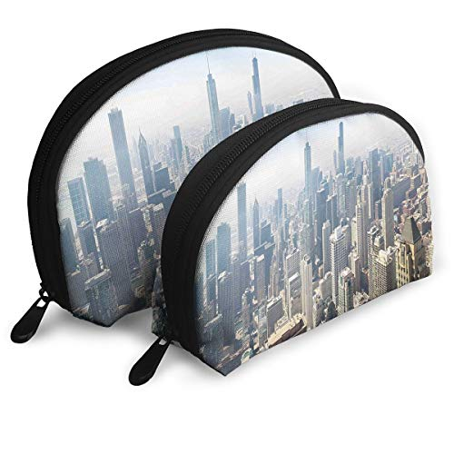 Shell Shape Makeup Bag Set Portable Purse Travel Cosmetic Pouch,Aerial View Of Chicago USA Tall Buildings Contemporary Architecture Skyscrapers,Women Toiletry Clutch]()