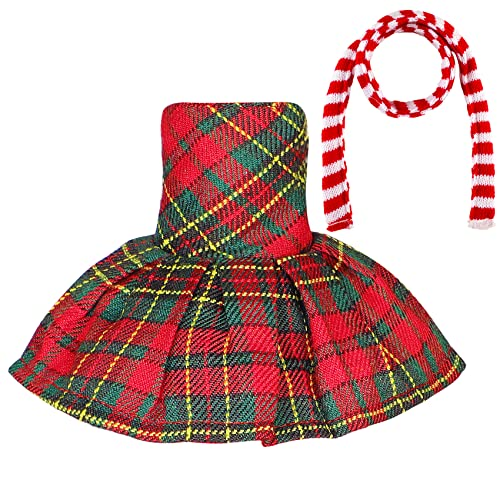 Erweicet Santa Couture Clothing Accessories Red-Green Plaid Dress Scarf for Elf Doll(Doll not Included)